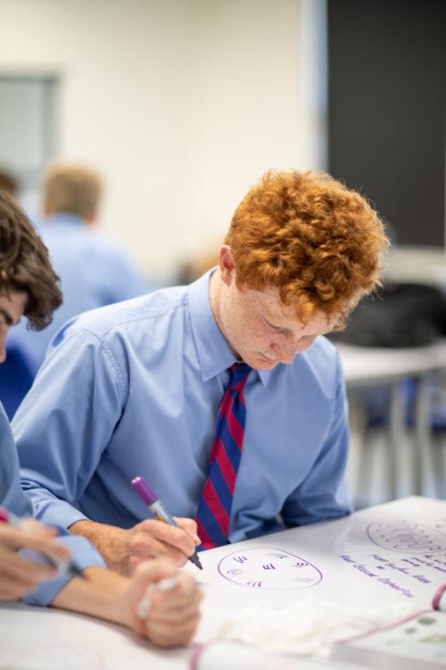 Joeys boys learning in classroom