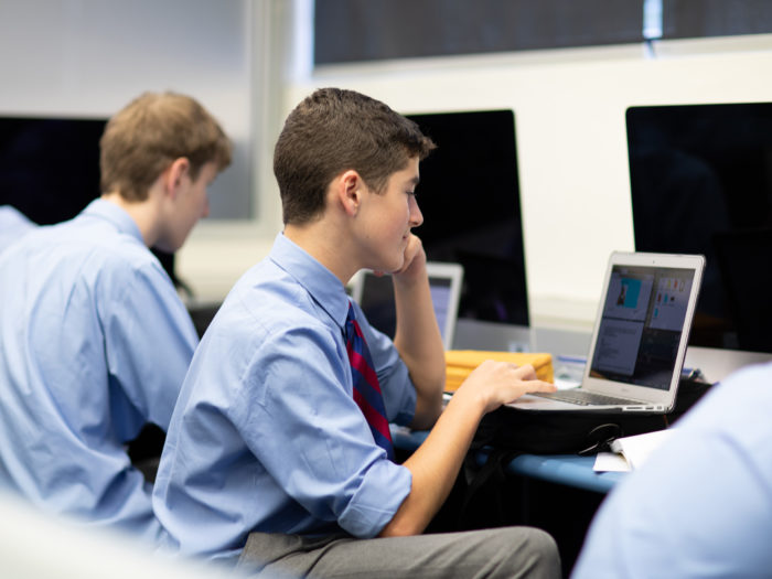 Joeys boys in classroom on computer
